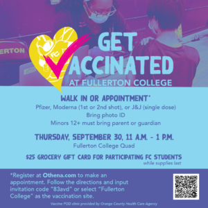 Fullerton College in partnership with OCHCA will host another vaccination clinic on Sept. 30 in the Quad.